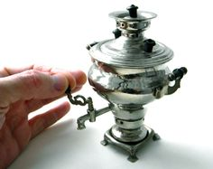 Vintage miniature metal samovar from Russia by BACKINUSSRVINTAGE,