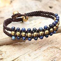 Lapis lazuli wristband bracelet, 'Blue Joy'