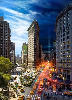 The Flatiron Building, Day to Night by Stephen Wilkes