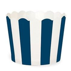 New Arrival Baking Cups - Muffin Cup Scalloped Stripe Navy Blue, Pkg of 25