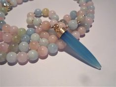 Long tusk horn necklace, Gemstone necklace, Mala necklace, Aquamarine necklace, Morganite necklace, Bohemian chic, Vermeil Tusk horn pendant Morganite Necklace, Aquamarine Necklace, Gemstone Necklace, Beaded Necklace, Beaded Bracelets, Necklaces, Mother Of Pearl Necklace, Blue Chalcedony, Turquoise Earrings