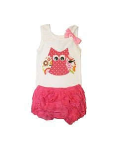 Baby Girl Clothes Owl Tank Top and Pink Lace Diaper Cover Outfit