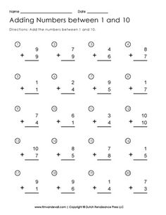 math worksheet : free addition to 10 worksheets with pictures  addition worksheets  : Addition To 10 Worksheets Free