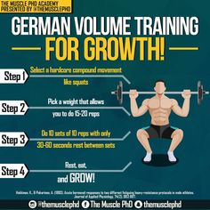 German volume training is one of the most brutal training techniques you will ever use, but the growth you get out of it will make a lasting effect.-Be careful with this though and only do it for one body part per week or you will quickly overtrain. For example, if you do it once this week for legs, don't also do it for back, and chest. Save that for the following week!