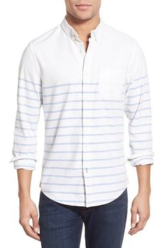 1901 1901 'La Conner' Trim Fit Stripe Print Woven Shirt available at #Nordstrom