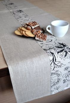 Natural linen table runner Dinner taupe table setting Eco friendly vegan runner Tan table decor Gray white with floral black print runner Linen Runner Natural Table Runner Tan Table Decor Gray / White With Print Table Runner Black print Natural Tan, Natural Linen, Vegan Runner, Grey Runner, Colorful Dresser, Table Runner Size, Burlap Table Runners, Deco Table, Decoration Table