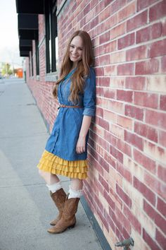 Make your dress modest with a ruffle skirt extender Bring On The Frill Layering Skirt | Mustard