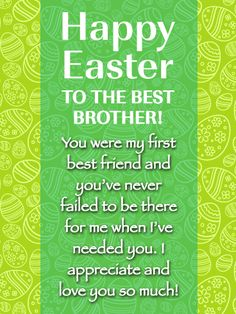 Send Free Best Brother, Best Friend - Happy Easter Card for Brother to Loved Ones on Birthday & Greeting Cards by Davia. It's free, and you also can use your own customized birthday calendar and birthday reminders. Funny Easter Wishes, Easter Wishes Messages, Easter Jokes, Funny Easter Bunny, Birthday Greeting Cards, Birthday Greetings, Birthday Wishes, Easter Quotes Images, Birthday Reminder