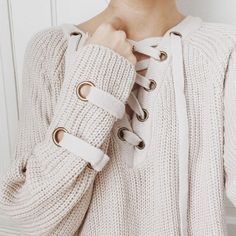 Chunky knit sweater tunic Lace-up front Long sleeves with criss-cross strap side detailing Slightly loose fit Size S/M measures approx. Fashion Casual, Fashion Outfits, Womens Fashion, Looks Style, My Style, Diy Mode, Glamour, Passion For Fashion, Autumn Winter Fashion