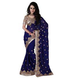 Bunny Sarees Navy Georgette Saree - http://weddingcollections.co.in/product/bunny-sarees-navy-georgette-saree/