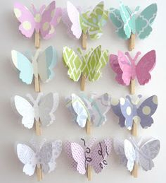 Could be fun to use these to hang pictures on a line for her party Garden Theme Birthday, Butterfly 1st Birthday, 1st Birthday Themes, Butterfly Baby Shower, 1st Birthday Girls, 2nd Birthday Parties, Fairy Birthday, Butterfly Party Decorations, Birthday Party Decorations Diy