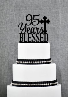 Script 95 Years Blessed Cake Topper 95th Birthday Year Cross Decoration Custom T247