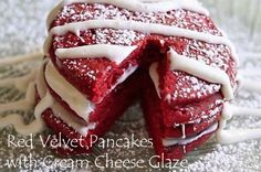 Red Velvet Pancakes with Cream Cheese Glaze from Divas Can Cook