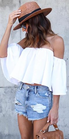 #summer #outfits Brown Hat + White Off The Shoulder Top + Ripped Denim Short