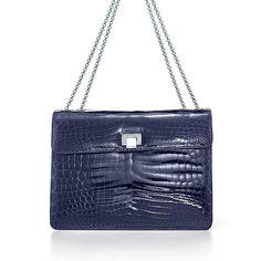 Cornelia lunch box handbag in navy crocodile.