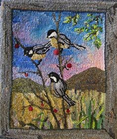 P589: Chickadees, Designed by Pearl McGown & Jane McGown Flynn, Hooked by Gail Becker
