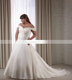 Fantastique A-line Appliques Off-the-Shoulder Chapelle Floor-Length Plus Size robe de mariée