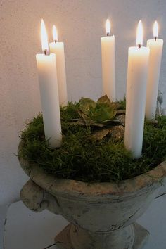 Candles in an urn,great idea when entertaining