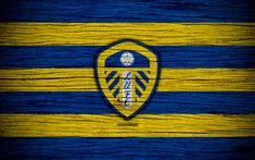 Download wallpapers Leeds United FC, 4k, EFL Championship, soccer, football club, England, Leeds United, logo, wooden texture, FC Leeds United
