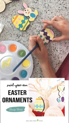 Paint your own Easter ornaments for a fun family tradition! These wooden decorations are the perfect addition to your Easter fun! Easter Crafts For Adults, Easter Ideas For Kids, Easy Easter Crafts, Kids Fun, Easter Traditions, Family Traditions, Diy Easter Decorations, Decorating Easter Eggs, Easter Activities