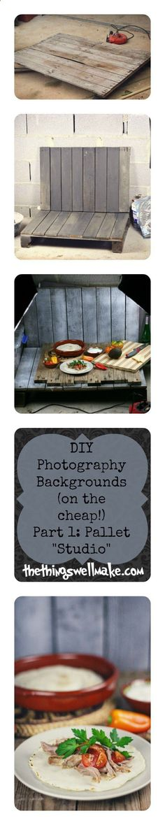 Better Pictures - Looking for an inexpensive way to make yourself a variety of backgrounds for your food and small object photography? Make sure to read the post for lots of ideas for taking better food and craft photos for your blog… Or take better pictures for selling small items on ebay… Part 1… Make yourself a pallet studio- on the cheap, and see how you can change it up! This links to a part 2 with great ideas for other inexpensive photo backgrounds! To anybody wanting to take bet...