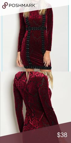 Gorgeous burgundy with black embellishments dress. Stunning 50 shades of Burgendy mini dress. Patterned semi see through. Wear what u feel is appropriate underneath. Burgundy or black bra/bralette, slip, nude or burgundy undies.... depends on whom you're with and what you're doing . Up to you. Fairly dressy but dress it down with boots. That will make it more goth looking. Bundle for less. Dresses Mini
