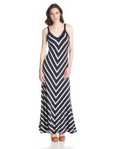 $138.00 Karen Kane Women's Miter Maxi Strap Dress, Stripe, X-Large - great in stripes