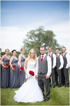 Outdoor Gray, White and Red Wedding | Grey weddings, Red wedding ...