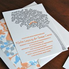 Halcyon Wedding Invitation- Letterpress, SAMPLE. $5.00, via Etsy.