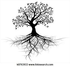 Whole vector black tree with roots View Large Illustration