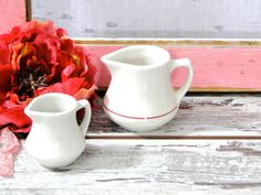 White Ironstone Creamer Small China Mid Century Homer Laughlin // Set of Two // Cottage Chic Farmhouse Decor Kitchen Dining Serving by SueEllensFlair on Etsy