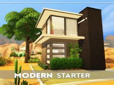 This is a small modern starter house. A Two story build with living room, kitchen, bathroom and bedroom. Found in TSR Category 'Sims 4 Residential Lots'