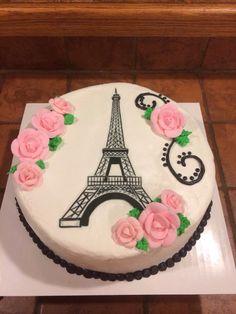 Eiffel Tower cake Paris Birthday Cakes, Paris Themed Cakes, Paris Birthday Parties, Paris Cakes, Themed Birthday Cakes, Birthday Treats, Paris Party, Bolo Paris, Eiffel Tower Cake