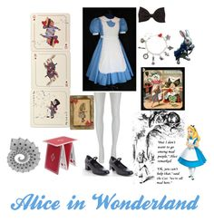 """""""Alice's Adventures in Wonderland (Halloween Outfit #4)"""" by rainbowroad96 ❤ liked on Polyvore featuring Avenida Home, Meadham Kirchhoff, Yves Saint Laurent, Forever 21 and Seletti"""
