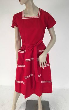 Vintage Red Cotton Wrap Dress by Swirl Red And White Outfits, 1950s, Wrap Dress, Short Sleeve Dresses, Trending Outfits, Cotton, Vintage, Fashion, Moda