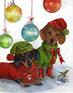"Dachshund Print, Bakery print ,Original Limited Ed. "" Tasty Bits Dachshund Dog Bakery"" Weiner Dog print from painting by Ellen Haasen Dachshund Funny, Arte Dachshund, Dachshund Love, Daschund, Dachshund Rescue, Christmas Animals, Christmas Dog, Christmas Cards, Christmas Dachshund"