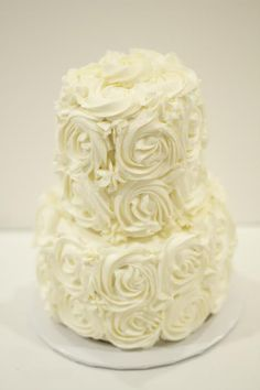 GORGEOUS 2 Tier Rose Buttercream Wedding Cake by @Chantel&Bella . So Chic yet Rustic!