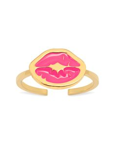 'Punk Kiss' midi ring with charm: a thin band midi ring with signature 'Kiss stamp' enamelled charm in pink. Opened at the back for adjustable sizing.