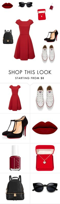 """""""Dressed in red #2"""" by hammiegrl on Polyvore featuring Converse, Christian Louboutin, Essie, Alexa Starr, Michael Kors, women's clothing, women, female, woman and misses"""