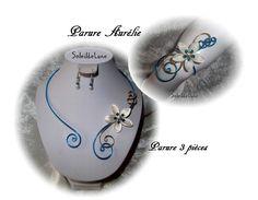 Parure fleur IVOIRE Strass cristal turquoise ❀ Parure mariage fête cérémonie : Parure par soleildelune-bijoux-mariage