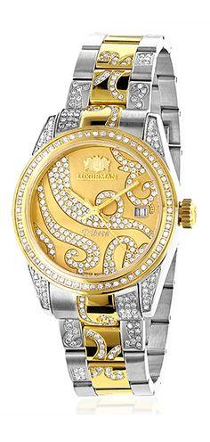 Ladies diamond watch 18K white yellow gold plated two-tone Luxurman Tribeca