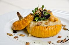 "Pumpkin risotto from the Accomac Inn.  Great presentation in ""jack be little"" pumpkins."