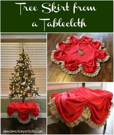 Tutorial on making a Christmas tree skirt from a tablecloth and burlap ribbon
