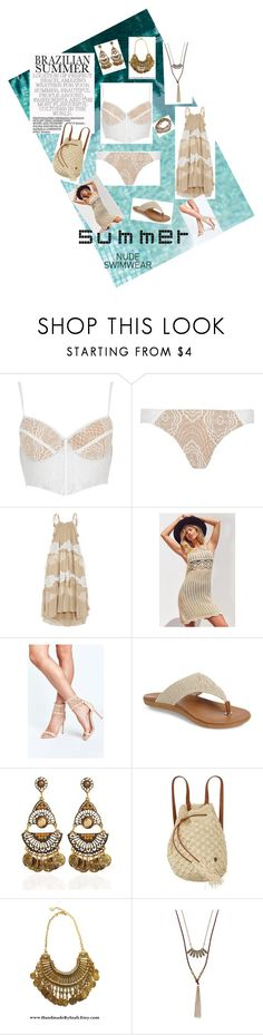 """Nude Swimwear"" by mb-magic-styles ❤ liked on Polyvore featuring River Island, Chloé, Astr, Sakroots, Billabong and Lizzy James"
