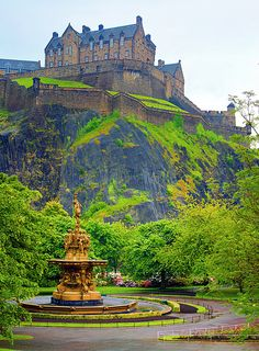 Edinburgh Castle in Scotland; this was the view outside our hotel window.