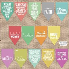 LDS Young Woman Values Banner Digital Printable File