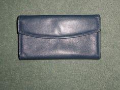 Women's Vintage Blue BARONET Envelope Wallet, Snap Close, Outside Pocket, GUC! #BARONET #EnvelopeSnapCloseOutsideCoinPurse