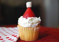Santa's Stocking Cap Cupcakes #holiday #recipe #LindsayWeiss  #Baking #Christmas #Thanksgiving #Recipes #BakingIsBliss #Treats #Holidays