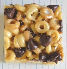 Peanut Butter Cheerios Treats...6 cups Cheerios, 2 tbsp butter, 1/3 cup smooth peanut butter, 40 marshmallows, 1 cup chocolate chips, 9x13 baking pan, spray pan and bake @ 350 until marshmallows, peanut butter and chips are well melted together, remove from oven, let cool, cut into squares and serve