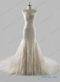 Sexy sheer back lace mermaid wedding dress